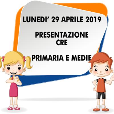 CRE 2019 – Riunione di Presentazione CRE Primaria
